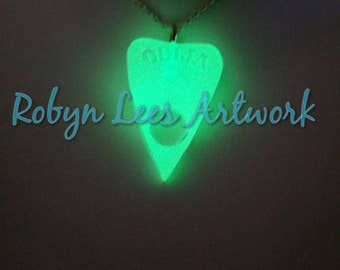 Green Glow in the Dark Large Ouija Board Planchette Resin Necklace on Silver, Bronze or Black Chain or Black Cord. UV, Costume, Gothic