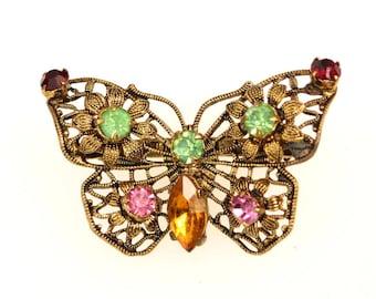 Vintage Czech Brooch Figural Butterfly Antiqued Gold Tone Filigree Rhinestone Signed Czechoslovakia