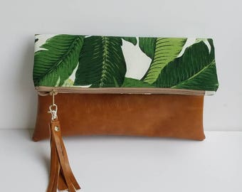 Palm Leaf Print Foldover Clutch/Palm leaf Oversize Clutch Bag/Vegan Leather Foldover Purse/Faux Leather Fold Over Bag/Gift for Her
