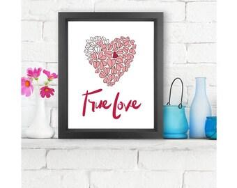 True Love  |  Giclée print, abstract handlettering, home decor, wall art, typography art, modern art, Love Art, Sentimental gift, love you