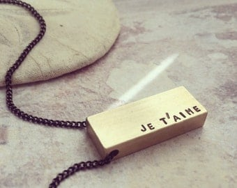 Personalized necklace, Valentines Personalized men jewelry, Je taime necklace, I love you bar necklace, gift for lover, gift for men