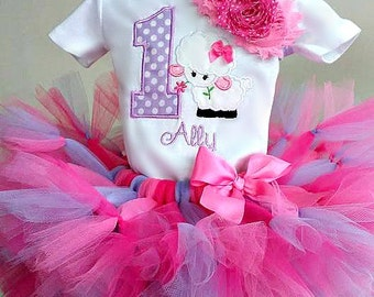 1st Birthday Sheep Tutu Outfit, First Birthday Lamb Tutu Outfit, Easter Birthday Outfit, Petti Tutu Outfit