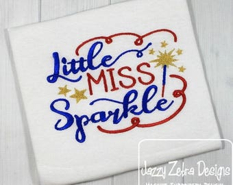 Little Miss Sparkle saying embroidery design - 4th of July embroidery design - fireworks embroidery design - Independence Day embroidery