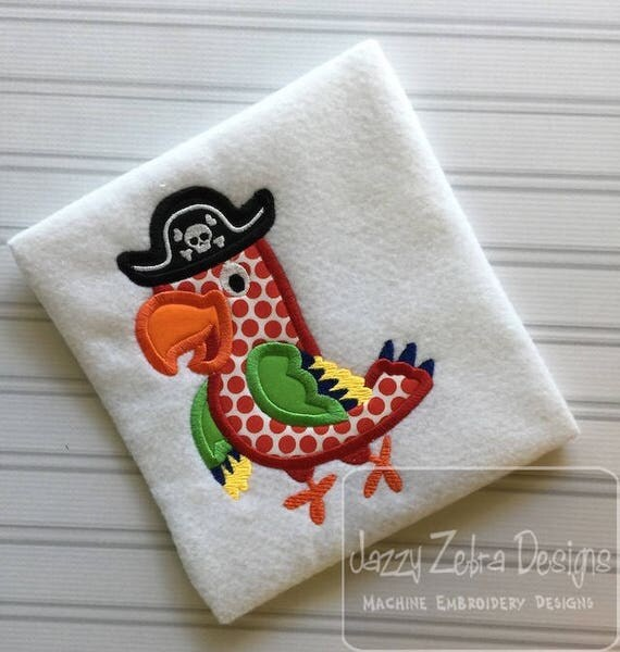 Pirate Parrot appliqué embroidery design - Parrot appliqué design - boy appliqué design - girl appliqué design - pirate appliqué design