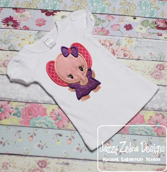 Elephant girl 175 appliqué embroidery design - elephant appliqué design - girl appliqué design - zoo appliqué design - circus appliqué