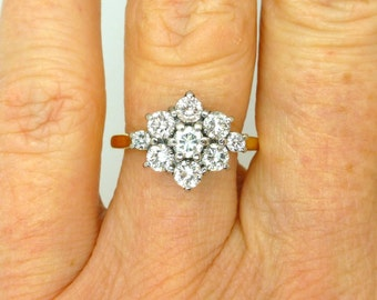 Vintage engagement ring 18ct-18K gold Diamond cluster daisy halo Flower English Estate Anniversary or Dinner ring 0.95tcw*FREE shipping*