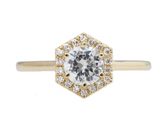 Hexagon Halo Ring with .50ct Moissanite