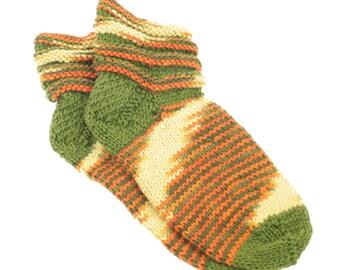 Hand Knitted Slipper Socks in Orange,Yellow & Green