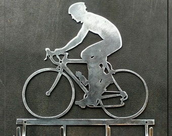 Bicyclist with Hooks Metal Art
