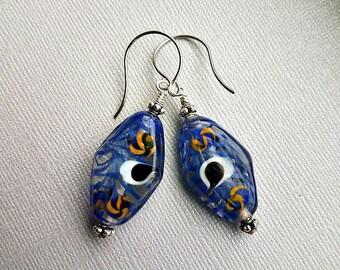 Vintage german glass earrings-vintage blue glass earrings-silver vintage earrings-blue glass painted earrings-glass painted earrings-antique