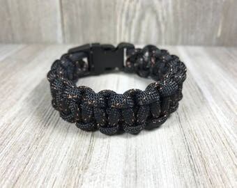 Black Paracord Bracelet; Black and Orange Survival Bracelet, Black Handwoven Bracelet, Paracord Jewelry, Square Knot Bracelet