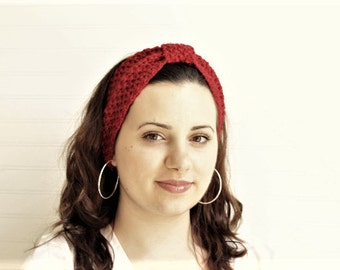 Cranberry Knotted Knot Headband-Head Warmer