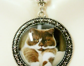 Brown and white cat pendant with chain - CAP26-106