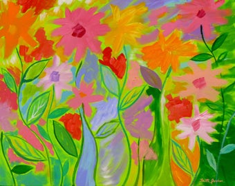 Great Spring Mirth 2, 24x30, Contemporary Art, Flower Painting, Floral Art,  Colorful