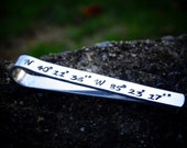 Personalized Coordinate tie bar Men's Tie Clip Father's Day Gift Hand stamped Tie accessory Longitude Latitude gift from kids GPS Gift