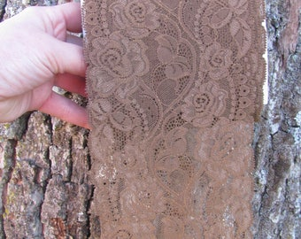 "12 cm / 4.5"" Wide Stretch Elastic Lace by Yard; Wood Brown Lingerie Lace, Headband Lace; Wide Lace Trim; Lace Yardage"