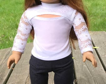 "18"" doll white lace knit top"