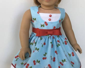 "18"" doll like American Girl cherry print dress, red ribbon belt and red hair ribbon"