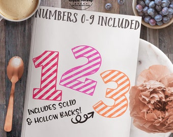 Striped Number svg, Number svg, First Birthday svg, Birthday svg, Birthday Number svg, eps, dxf, png Cut Files for Silhouette for Cricut
