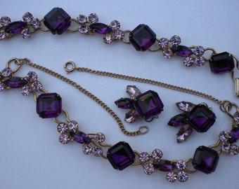 Vintage 60s Purple Lilac Rhinestone Parure Necklace Bracelet Earring Set FREE Shipping