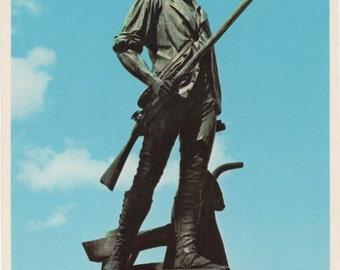 Minuteman Statue, Concord, Massachusetts, 1 Unused Postcard of c1980s, good shape, Vintage