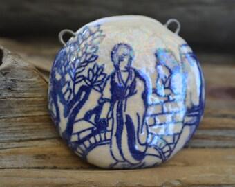 Geisha-  Handmade X Large Porcelain Focal Pendant