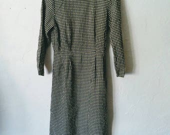Vintage Gingham Dress Black and White Wiggle Dress