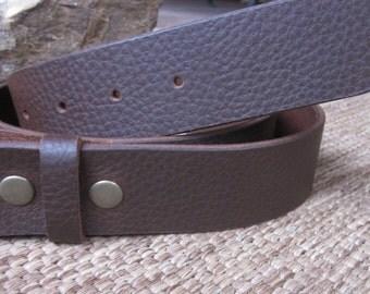 """Leather belt strap brown snap belt strap Small & medium brown full grain leather belt 1.5"""" soft leather belt strap for belt buckles"""