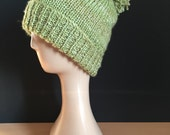 Hand Knitted bobble hat  greens (meadow)