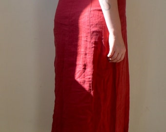 Deep maroon/red linen maxi dress with button up back detail- S/M