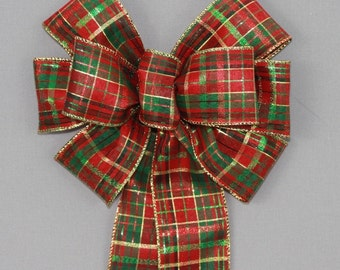 Red Green Metallic Plaid Christmas Wreath Bow  - Plaid  Christmas Bow, Christmas Tree Bow