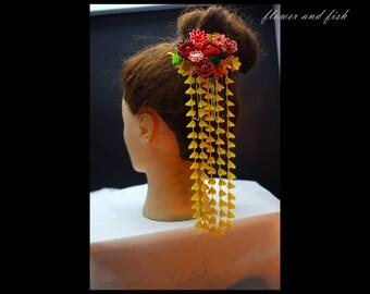 red kanzashi -Accessories-flower fork- Japanese hair flower, geisha hair piece