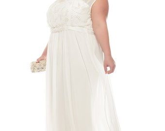 Plus Size Roselyn Off White Wedding Prom Maxi Wedding Dress Vintage 1920s Great Gatsby Charleston Downton Abbey Art Deco Bridesmaid