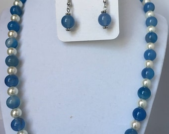 Beaded Blue Glass Bead and Pearl Necklace and Earrings Jewelry Set