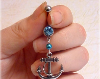 Anchor Belly Button Ring - Stainless Steel, Blue Rhinestone