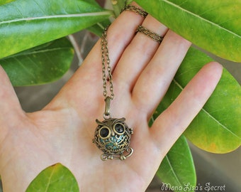 Aromatherapy Owl Locket Necklace, Bronze Essential Oil Diffuser Necklace, Owl Locket with Turquoise Stone and Lava Stone, Perfume Locket
