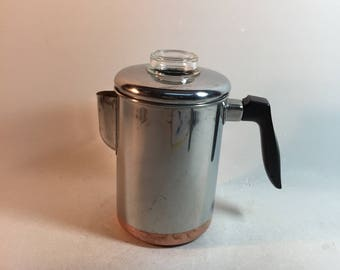 Vintage Ekcoware 8 Cup Stainless and Copper Bottom Coffee Pot Percolator