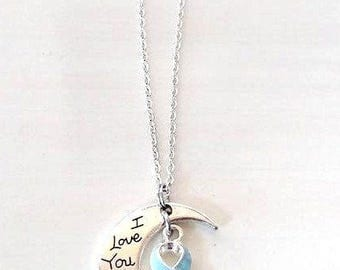 Light Blue Prostate Cancer Awareness Ribbon I Love You To the Moon and Back Necklace You Select Chain Material and Length