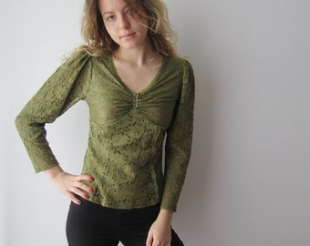 Vintage Moss Green Blouse Long Sleeve Top Green Lace Blouse Small to Medium Size Womens Blouse Moss Tank Top V-Neck Shoulder Pads To