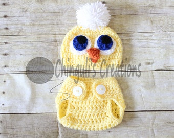 Baby Crochet Chicken Outfit Newborn Chicken Hat Diaper Cover Easter Chick Hat Baby Easter Outfit Baby Little Chick Hat