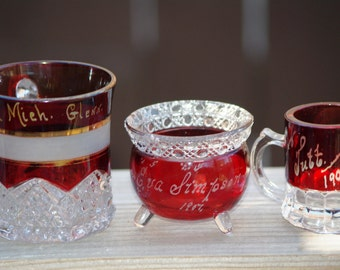 Vintage/Antique Lot of 3 Ruby Cut to Clear Bohemian Glass, Small Mugs and 1 Red Footed Bowl 1900s -  1920s