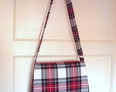 Tartan Messenger Bag in Stewart Dress fabric Cross body Shoulder Bag Plaid Purse kilt pin brooch red cream green black Handmade in Scotland