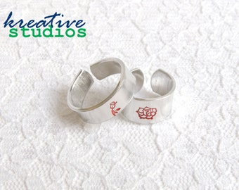 Rose Hand Stamped Ring - Simply Stamped, Enchanted Rose, Belle, Beauty & the Beast, Flower, Spring, Princess, Handmade, Fun, Cute,