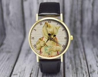Kitten with Teacup Watch | Cat Watch | Women's Watch | Ladies Watch | Gift for Her | Birthday | Wedding | Gift Ideas | Fashion Accessories