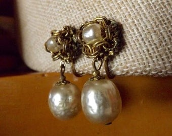 Vintage Miriam Haskell Baroque Faux Pearl Gold Filigree Drop Earrings Clip On 1950's