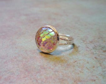 Clear Mermaid Ring, dragon scale ring, adjustable ring, shimmer mermaid ring, mermaid jewelry, dragon jewelry, resin scale, pink mermaid