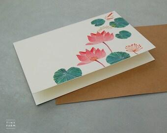 Floral Notecard Set - Assorted hand-painted flowers, botanical art, zen