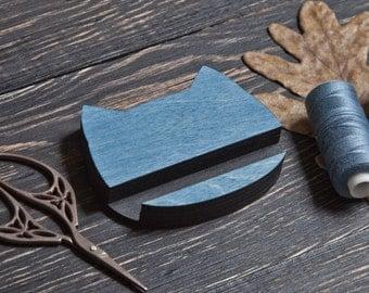 Wooden Docking Station, Cat Smartphone Stand, Blue Phone Stand, Blue Grandma Gift, Wooden Tablet Stand, Blue Tablet Holder