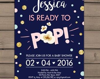 Ready to pop baby shower pop baby shower girl baby shower ready to pop baby shower invitation about to pop shower pink and gold baby shower girl filmwisefo