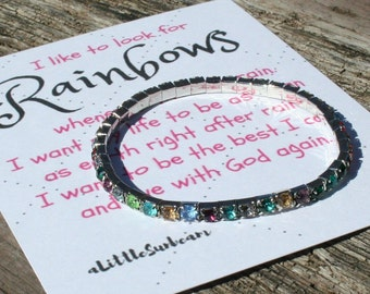 Baptism rainbow stretch rhinestone bracelet gift with I like to look for rainbows card